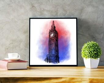 Big Ben - Printable Wall Art - Landmark Illustration