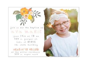 Orange floral LDS baptism invitation digital photography template