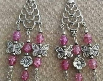 Pink Glass Bead Flower and Butterfly Earrings, Butterfly Earrings, Flower Charms, Butterfly Charms, Gifts for her, Gifts for girls