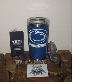 "YETI RAMBLER custom made with ""PennState"" logo,20oz Yeti Choose color,Personalized cup powder coated blue"