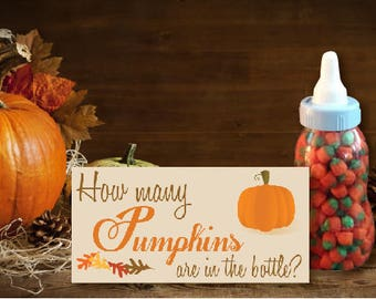 Fall Baby Shower Game   How Many Pumpkins