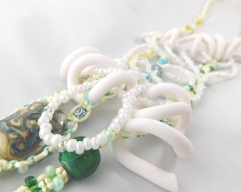 Summer beach macrame statement necklace with lampwork bead