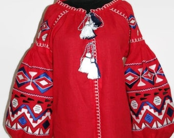 Ukrainian Blouse Vyshyvanka Ukraine Embroidery Embroidered Shirt Boho Clothing Bohemian Clothes Ethnic Folk Vishivanka for Woman Mexican Red