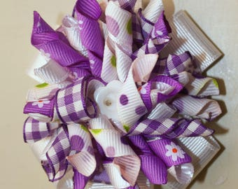 Stacked Hair Bow, Purple and White, Infant Toddler Girls Hairbow