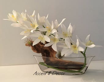White Orchids, Crystal Vase