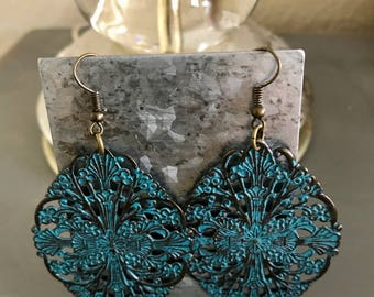 Brass and teal earrings