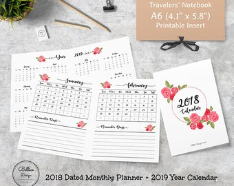 Inserts for Planners, A6 TN Inserts, A6 Printable Planner Inserts, Month on One Page, Dated Monthly Insert, 2018 Monthly Planner, A6 Inserts