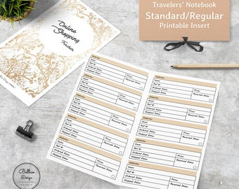 Standard Travelers Notebook Insert, Stantdard TN Inserts, Online Shopping Tracker, Printable Planner Inserts, Digital Planner Inserts
