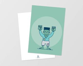 Postcard • Halloween • Frankenstein