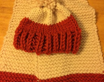 Knitted wool blend scarf and hat