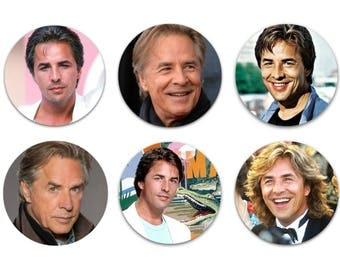 """Don Johnson Set Of 6 Different 1.25"""" Pinback Buttons, Flat Backs Or Magnets"""