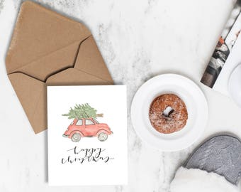 Watercolor Christmas Card | Christmas Car Card | Happy Christmas Card