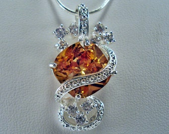 "Celebrational Sterling Silver High-Style Citrine Simulant CZ Gemstone Pendant with 24"" Sterling Silver 1mm Snake Chain"