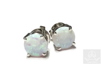 1ct round lab created opal sterling silver push stud earrings