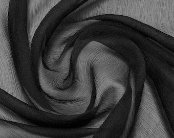 by 0.5 Meter Black 5mm Pure Silk Crinkle Chiffon Fabric dressmaking material sheer (RC-Black)