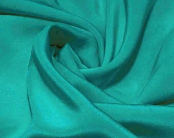 "Sample/ Yards/Meters 100% Pure Mulberry Silk Fabric Crepe De Chine 55"" /140cm wide 14momme DressMaking Material Scuba blue crepe7W-14mmW"