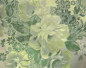Asian Chinese brocade satin fabric material dull olive golden green with green flower embroidered by the 0.5 YARDS, Yards Meters cbs 86