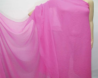 114cm /45 inches wide Rose Bloom Pink Silk Georgette Chiffon Fabric 8mm dressmaking material sheer CN-42 by the yards or by the meters