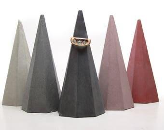 Concrete ring cone, cement ring cone, Geometric ring cone,  ring holder, concrete cone, ring tree, wedding favor