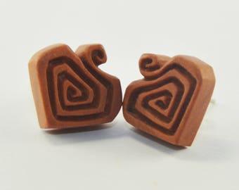 Carved Heart Stirrup Earrings Stud Loop Posts - Sabo Wood