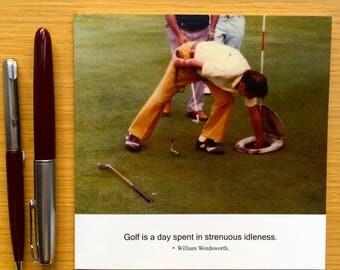 Vintage funny card - Colour photography card  - Golf card - Toilet seat card - Wordsworth quotation card - Flares card - Idleness card
