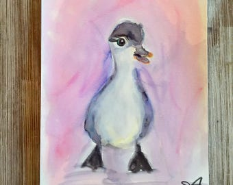Duckling Painting | Original hand-painted Watercolor