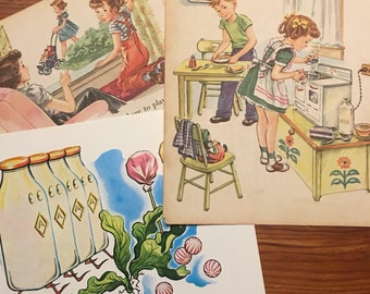 6 food related vintage children's book pages