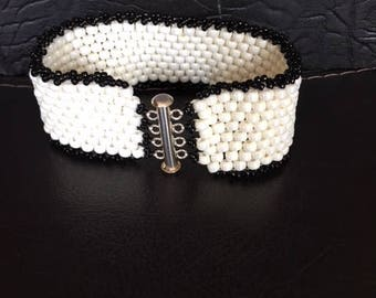 Seed bead bracelet, black edging, slide in clasp,unique bracelet, cream colored bracelet, flexible, lightweight, Xmas gift