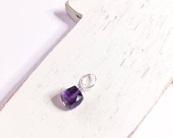 Amethyst dangle/drop,February Birthstone, sterling silver,gold fill, gift for her,amethyst cube, purple dangle,minimalist jewelry