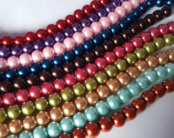 10mm glass pearl beads, Glass pearl beads, Pearl beads, Glass beads, Jewellery making beads, Jewellery making, Round beads, Glass pearls