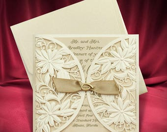 Wedding invitation etsy laser cut wedding invitation ivory gold invitation with brooch and ribbon elegant wedding invitation stopboris Gallery
