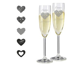 """2 Leonardo champagne glasses with personalized engraving """"hearts"""" bride/Groom with name and date engraved wedding gift"""