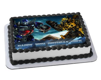 Transformers Optimus Prime Bumblebee Edible Cake Image Personalized Birthday Topper Icing Sugar Paper A4 Sheet 1