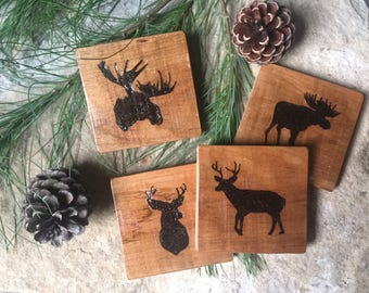 Handmade Wood Burned Coasters come in a set of 4