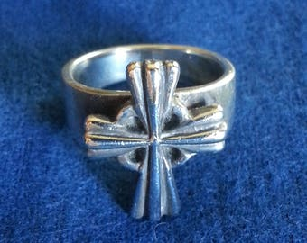 Vintage .925 Solid Sterling Silver Cross Ring Size 7 Easter Gift