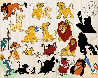 Lion King Svg, Lion King Cutfiles: Svg, Dxf, Eps, Png files, Layered Simba svg for Cricut, Silhouette. Simba Svg, Timon & pumba svg cutting