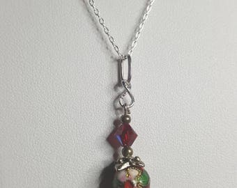 little creation with Pearl enamel and Swarovski Crystal on silver necklace one of a kind unique creation