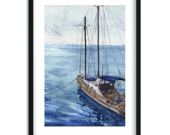 Sea Landscape with Boat / watercolor Landscape / Digital Art Print / Wall Art / Instant Download Print