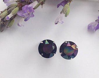 Striking Sterling silver earrings made with 8mm Swarovski Rainbow Dark crystals