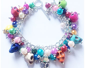 Fabulous fully loaded howlite skull bracelet with faux pearls
