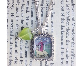 Suffragette themed picture charm necklace, suffragette jewelry, suffragette jewellery, votes for women