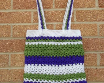 Unique Hand Crocheted Ladies' Striped Tote/Shoulder Bag - White/Green Purple