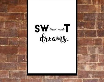 Sweet Dreams A4 Typography Wall Print