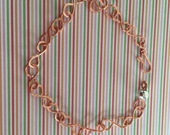 Handmade Copper Tempered Link Bracelet, gifts for her, valentines, for mum, girlfriend, sister, love, birthday