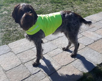 Dog visibility vest , Neon yellow, orange and green color, Go wouf, dog accessory, dog vest, dog sweater, Dog hunting visibility vest