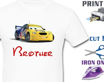 Cars Iron On Transfer - Brother Cars - Boy Birthday Shirt DIY - Cars Birthday Shirt DIY - Cars Shirt DIY - Instant Download - Digital Files