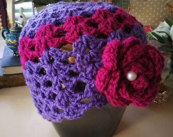 Purple shell stitch