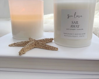 SAIL AWAY • soy candle, peach soy candle, hand poured soy candle, vegan soy candle, natural candle, Sea Love Candle