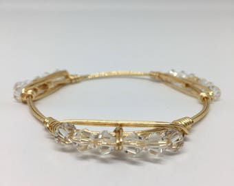 Crystal Beaded Bangle Bracelet