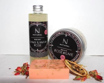 N A T U R A L | Bath gift set with roses scent | Body scrub | Body wash | Oraganic soap | Christmas gift set | Beauty gift set